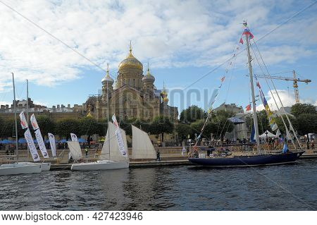 Yachts And Sailboats In The Water Area Of The Neva
