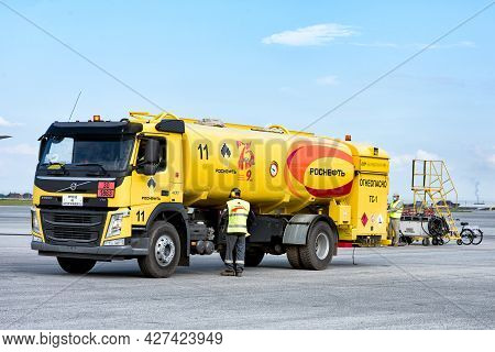Abakan, Russia - August 08, 2020: Refueling An Aircraft At The Airport In Summer.