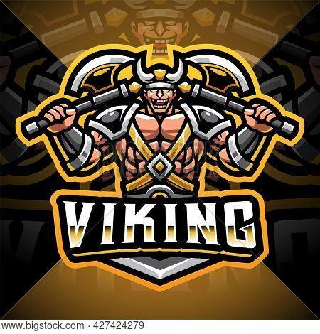 Viking Mascot Gaming Logo Design Holding Axe