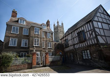 Historic Buildings Next To Gloucester Cathedral In Gloucester In The Uk, Taken On The 24th April 202
