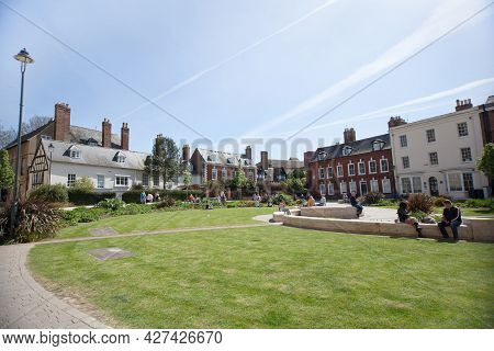 Views Of Gloucester Cathedral Gardens And Surrounding Buildings In Gloucester In The Uk, Taken On Th