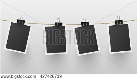 Set Of Retro Blank Photo Frames Hanged On Rope Attached With Paper Clip Vector Retro Memory Snapshot