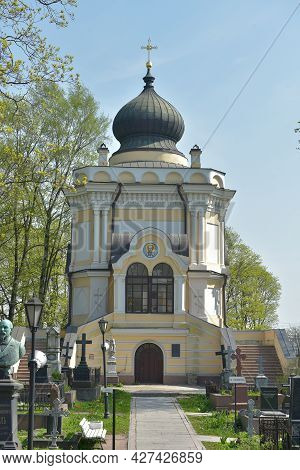 Saint Petersburg, Russia - 14.05.2021- Monuments Of The Nikolskoe Cemetery And The Church Of Saint N