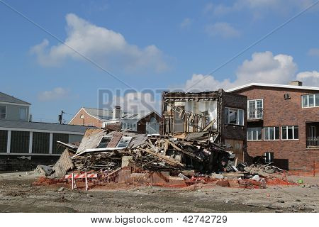 Destroyed beach house in devastated area four months after Hurricane Sandy