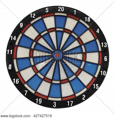 There Is A Board Of Darts. White Background. Isolated.