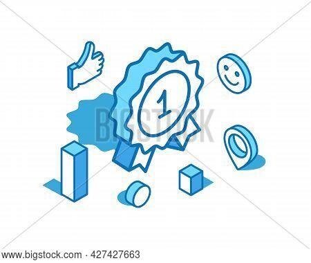Achievement Badge Blue Line Isometric Illustration. Reward, Prize 3d Banner Template.