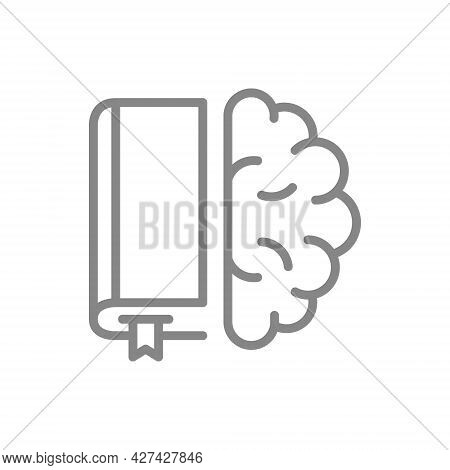 Book With Brain Line Icon. Encyclopedia, Education Course Symbol