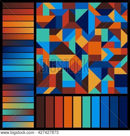 Geometric Graphic Seamless Pattern With Blue, Brown, Orange, Yellow Color Swatches And Gradients On