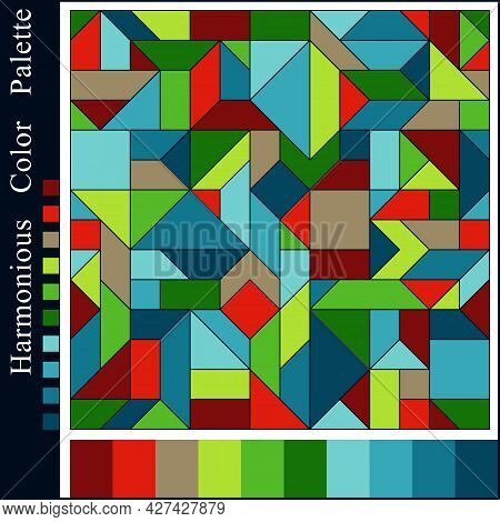Abstract Harmonious Color Palette With Geometric Composition. Graphic Background With Blue, Brown, G
