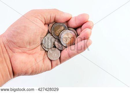 Money Coin Thai Baht In The Hand