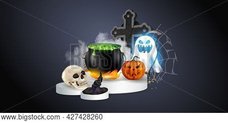 Halloween Realistic Set With Various Objects For Witches Isolated On Black Background Vector Illustr