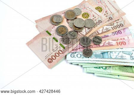 Money Banknote Thai Baht On White Background, Savings Money And Financial Business Concept, Copy Spa