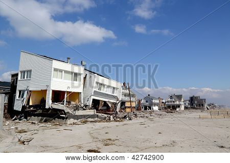 Destroyed beach houses in devastated area four months after  Hurricane Sandy on February, 28, 2013 i