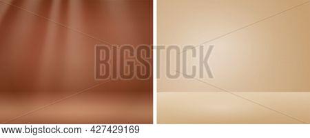 Abstract Luxury Gradient Brown Background. Stage Showcase On Pedestal Display Beige Studio. Soft Bei
