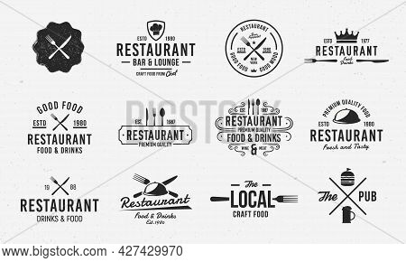 Vector Restaurant Logo Set. 11 Luxury Restaurant Emblems. Cook And Food Retro Labels, Badges, Emblem