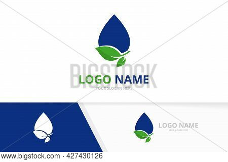 Clear Blue Droplet Logo Combination. Ecological Water Delivery Logotype Design Template.