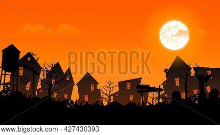 Halloween 2021. City Panorama In Halloween Style. Scary Halloween Isolated Background. Orange And Ye