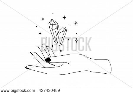 Mystic Celestial Crystal With Constellation Stars Over Woman Hand Outline Silhouette. Vector Illustr