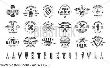 Barbershop, Barber, Haircut's Salon Vintage Hipster Logo Templates. 18 Logos And 16 Design Elements
