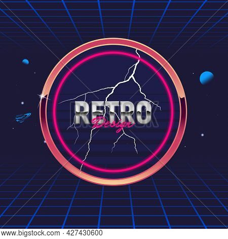 Retro 80's Frame. Circle Abstract Frame. Template For Social Media. Hipster Design. Retro 80's Logo