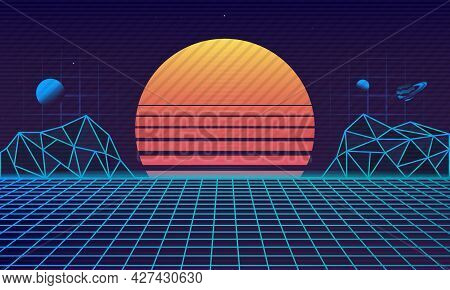 Retro Futuristic 80's Background. Retrowave Background With Retro Sun, Laser Grid And Cyber Mountain
