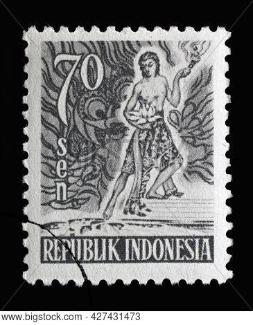 ZAGREB, CROATIA - SEPTEMBER 04, 2014: Stamp printed in Indonesia shows Spirit of Indonesia, Views series, circa 1953
