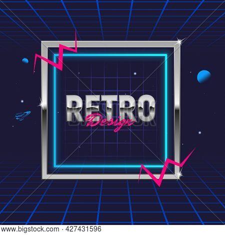 Retro 80's Frame. Template For Social Media. Hipster Design. Retro 80's Logo For Night Club, Music A