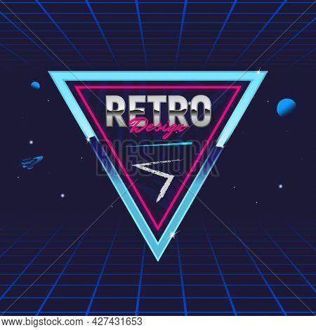 Retro 80's Frame. Triangle Abstract Frame. Template For Social Media. Hipster Design. Retro 80's Log