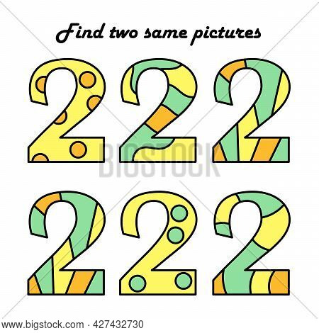 Find Two Identical Pictures. A Puzzle Game For Children. Numbers. Two. Education And Entertainment.