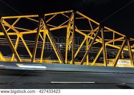 Seoul Highway At Night. Korean Nightlife. Shot From The Bridge. South Korea