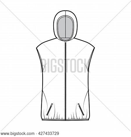 Hooded Down Vest Puffer Waistcoat Technical Fashion Illustration With Zip-up Closure, Pockets, Overs