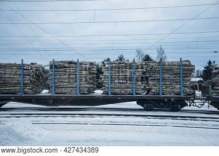 The Train Carries Birch Firewood In Winter. Railway Car Carrying Birch Logs. Firewood Preparation.