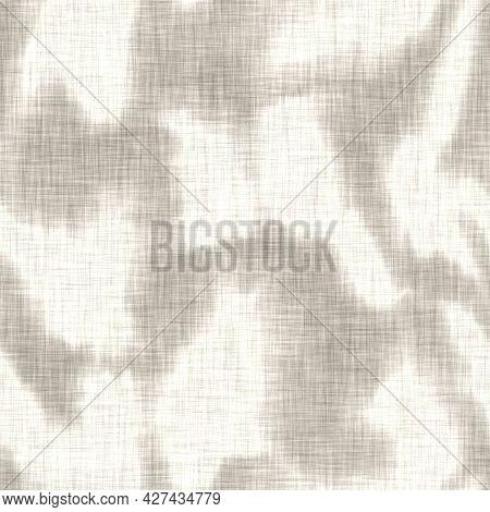 Linen Texture Background With Mottled Blotch. Organic Irregular Streaked Seamless Pattern. Modern Pl