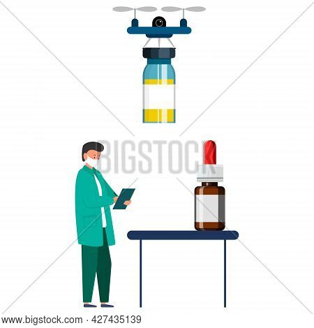 Delivery Of Medicines To The Doctor. Vector Illustration