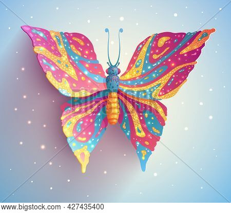 Magic Butterfly With Colorful Wings And Bright Flares, Fantasy Illustration Of Flying Moth Insect In