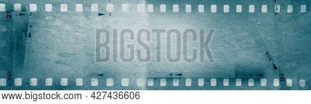 Blue film strip negative frames background