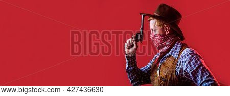 Portrait Of A Cowboy. American Bandit In Mask, Western Man With Hat. Portrait Of Cowboy In Hat. Port