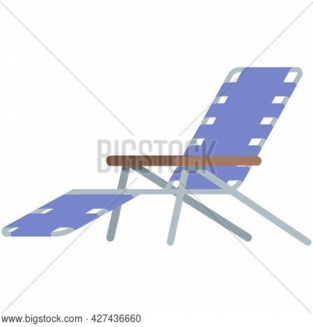 Outdoor Camp-cot Bed Or Beach Deck Chair Icon Vector