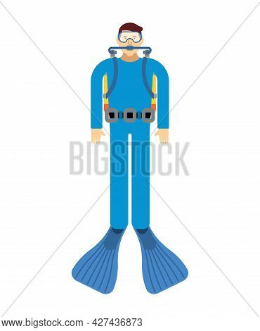 Diver Isolated. Frogman Vector Illustration. Underwater Diver