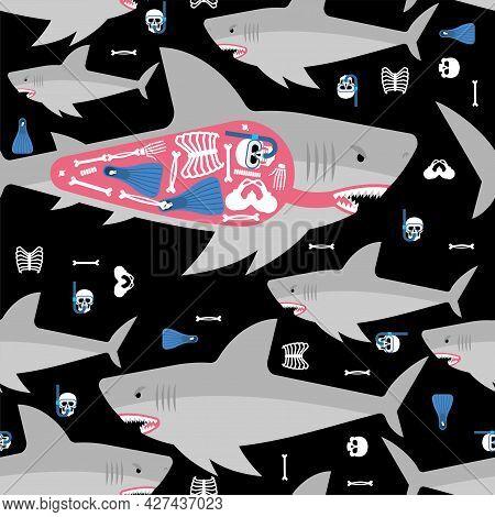 Shark And Skeleton Diver Pattern Seamless. Marine Predator Ate Frogman Background. Diver's Death Tex