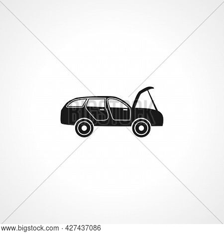 Broken Car Icon. Cars With Open Hood Isolated Simple Vector Icon.
