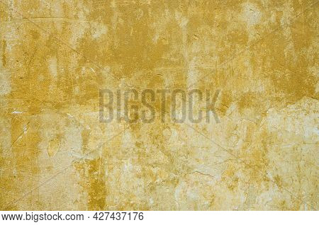 Old Of Dilapidated Wall For Texture Or Background, Rough Aged Surface, Remnants Of Peeling Plaster,
