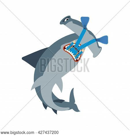 Hammerhead Shark And Diver. Marine Predator Ate Frogman. Death Of A Diver By Fish Hammer