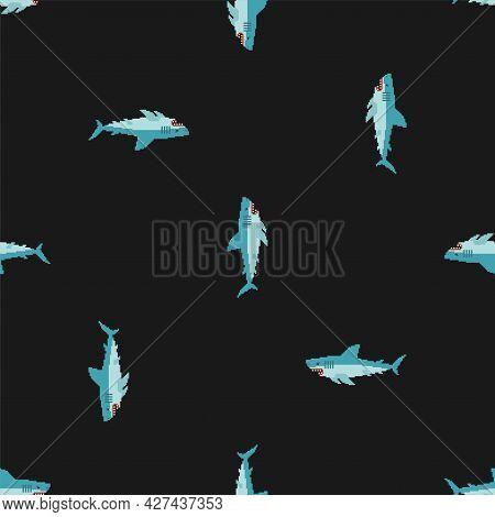 Shark Pixel Art Pattern Seamless. Sea Predator 8bit Background. Large Predatory Marine Fish. Vector