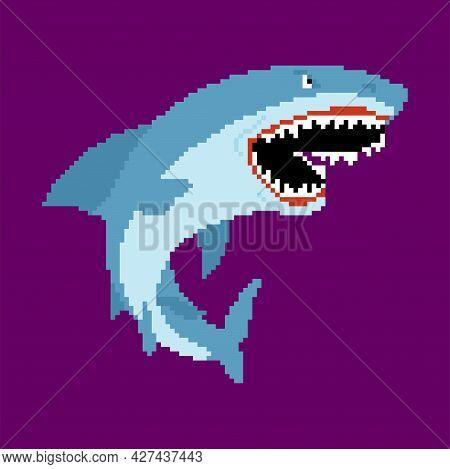Shark Pixel Art. Sea Predator 8bit. Large Predatory Marine Fish. Vector Illustration