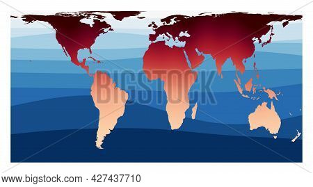 World Map Vector. Cylindrical Equal-area Projection. World In Red Orange Gradient On Deep Blue Ocean