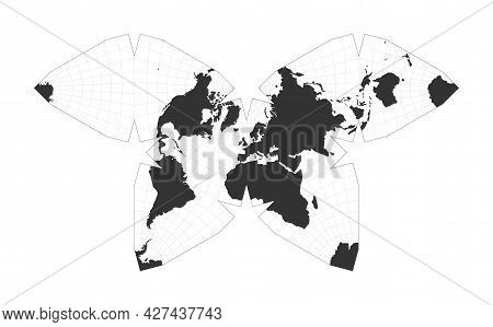 Map Of The World. Steve Waterman's Butterfly Projection. Globe With Latitude And Longitude Net. Worl