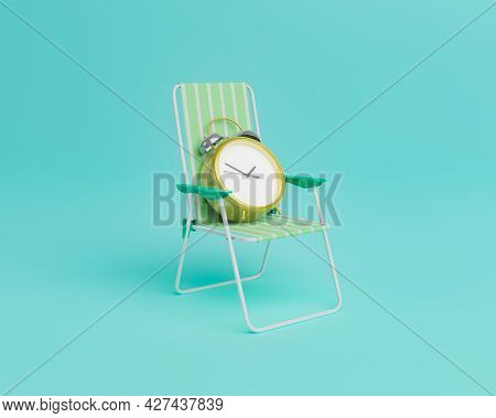 alarm clock sitting on a beach chair. minimal concept of vacation, summer time and patience. 3d render