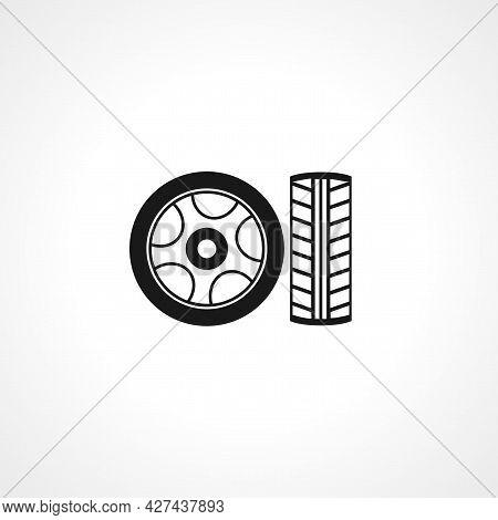 Car Wheel Icon. Car Wheel Isolated Simple Vector Icon.