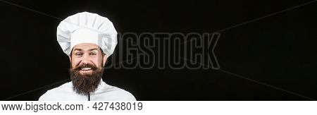 Funny Chef With Beard Cook. Beard Man And Moustache Wearing Bib Apron. Nappy Man. Portrait Of A Happ